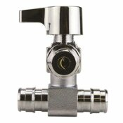 APOLLO 1/2 IN. CHROME-PLATED BRASS PEX-A BARB X 1/4 IN. COMPRESSION QUARTER-TURN ICEMAKER TEE VALVE
