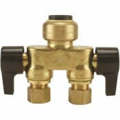 TECTITE 1/2 IN. BRASS PUSH-TO-CONNECT X 3/8 IN. COMPRESSION DUAL INLINE OUTLET DUAL SHUT-OFF QUARTER-TURN STOP VALVE