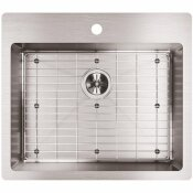 ELKAY CROSSTOWN DROP-IN/UNDERMOUNT STAINLESS STEEL 25 IN. 1-HOLE SINGLE BOWL KITCHEN SINK WITH BOTTOM GRID