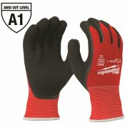 MILWAUKEE MEDIUM RED LATEX LEVEL 1 CUT RESISTANT INSULATED WINTER DIPPED WORK GLOVES