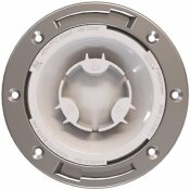 OATEY FAST SET 3 IN. PVC HUB SPIGOT TOILET FLANGE WITH TEST CAP AND STAINLESS STEEL RING - OATEY PART #: 435882