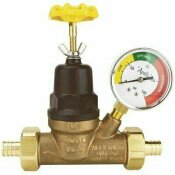APOLLO 3/4 IN. BRONZE DOUBLE UNION PEX WATER PRESSURE REGULATOR WITH GAUGE
