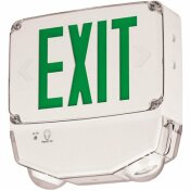 COMPASS 33.6-WATT INTEGRATED LED WHITE/GREEN COLD TEMPERATURE EM/SINGLE-FACE EXIT SIGN, WET LOCATION
