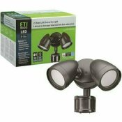 ETI 180-DEGREE BRONZE PIR MOTION ACTIVATED OUTDOOR INTEGRATED LED SECURITY FLOOD LIGHT DUSK-TO-DAWN 1800 LUMENS 4000K
