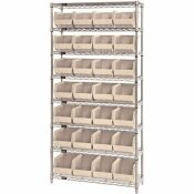 QUANTUM STORAGE SYSTEMS GIANT OPEN HOPPER 36IN. X 14 IN. X 74 IN. WIRE CHROME HEAVY DUTY 8-TIER INDUSTRIAL SHELVING UNIT
