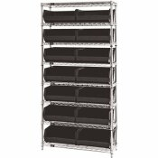 QUANTUM STORAGE SYSTEMS GIANT OPEN HOPPER 36 IN. X 14 IN. X 74 IN. WIRE CHROME HEAVY DUTY 8-TIER INDUSTRIAL SHELVING UNIT