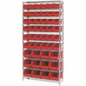 QUANTUM STORAGE SYSTEMS GIANT OPEN HOPPER 36 IN. X 14 IN. X 74 IN. WIRE CHROME HEAVY DUTY 10-TIER INDUSTRIAL SHELVING UNIT