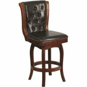 CARNEGY AVENUE 26 IN. HIGH CHERRY WOOD COUNTER HEIGHT STOOL WITH BUTTON TUFTED BACK AND BLACK LEATHER SWIVEL SEAT