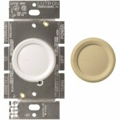 LUTRON SINGLE-POLE ROTARY DIMMER SWITCH FOR INCANDESCENT AND HALOGEN BULBS, WHITE/IVORY