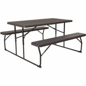 58.25 IN. CHARCOAL PLASTIC TABLETOP PLASTIC SEAT FOLDING TABLE AND BENCH SET