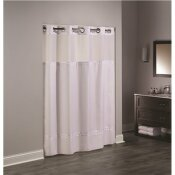 HOOKLESS 77 IN. L ESCAPE HOOKLESS WHITE SHOWER CURTAIN (CASE OF 12)