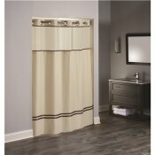 HOOKLESS 77 IN. L ESCAPE HOOKLESS SHOWER CURTAIN SAND WITH BROWN ACCENTS (CASE OF 12)