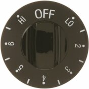 GE RANGE BLACK CONTROL KNOB WITH NUMBERS