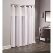 HOOKLESS CORAL 77 IN. L WHITE SHOWER CURTAIN WITH SHEER WINDOW AND SNAP LINER (CASE OF 12)