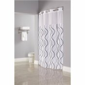 HOOKLESS WAVES 77 IN. SHOWER CURTAIN WITH SHEER WINDOW AND SNAP LINER (CASE OF 12)