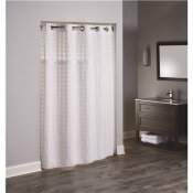 HOOKLESS SHIMMY 77 IN. L WHITE SQUARE SHOWER CURTAIN WITH SHEER WINDOW AND SNAP LINER (CASE OF 12)