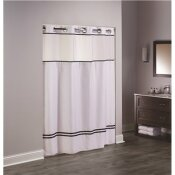 HOOKLESS ESCAPE 77 IN. L SHOWER CURTAIN WITH SHEER WINDOW AND SNAP LINER WHITE WITH BLACK ACCENTS (CASE OF 12)