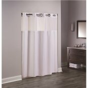HOOKLESS 74 IN. L DOUBLE H WHITE SHOWER CURTAIN WITH SHEER WINDOW AND SNAP LINER (CASE OF 12)