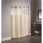 HOOKLESS 77 IN. L DOUBLE H SHOWER CURTAIN WITH SHEER WINDOW AND SNAP LINER BEIGE (CASE OF 12)