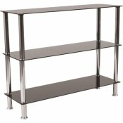 CARNEGY AVENUE 31.5 IN. BLACK TOP/STAINLESS STEEL METAL 3-SHELF STANDARD BOOKCASE WITH OPEN BACK