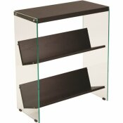 CARNEGY AVENUE 28 IN. DARK ASH GLASS 3-SHELF STANDARD BOOKCASE WITH OPEN BACK