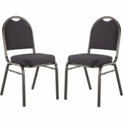 9200 SERIES MIDNIGHT BLUE SEAT/ BLACK SANDTEX FRAME PREMIUM FABRIC UPHOLSTERED STACK CHAIR (PACK OF 2)
