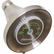 NIAGARA CONSERVATION EARTH LUXE 3-SPRAY 3.35 IN. FIXED MOUNT ROUND 1.5 GPM SHOWERHEAD IN BRUSHED NICKEL