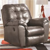 FLASH FURNITURE ALLISTON GRAY LEATHER/FAUX LEATHER ROCKER RECLINER