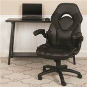 CARNEGY AVENUE BLACK LEATHERSOFT UPHOLSTERY RACING GAME CHAIR