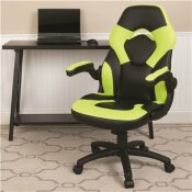 CARNEGY AVENUE NEON GREEN LEATHERSOFT UPHOLSTERY RACING GAME CHAIR