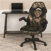 CARNEGY AVENUE CAMOUFLAGE LEATHERSOFT UPHOLSTERY RACING GAME CHAIR