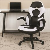 CARNEGY AVENUE WHITE LEATHERSOFT UPHOLSTERY RACING GAME CHAIR