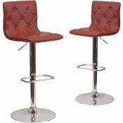 CARNEGY AVENUE 32.25 IN. BURGUNDY BAR STOOL (SET OF 2)