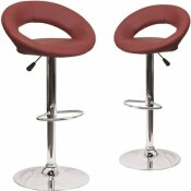CARNEGY AVENUE 32.75 IN. BURGUNDY BAR STOOL (SET OF 2)