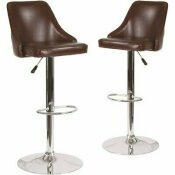 CARNEGY AVENUE 32.5 IN. BROWN LEATHER BAR STOOL (SET OF 2)