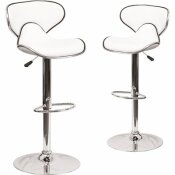 CARNEGY AVENUE 32.5 IN. WHITE BAR STOOL (SET OF 2)