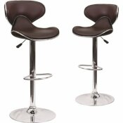 CARNEGY AVENUE 32.5 IN. BROWN BAR STOOL (SET OF 2)