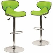 CARNEGY AVENUE 32.5 IN. GREEN BAR STOOL (SET OF 2)