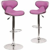 CARNEGY AVENUE 32.5 IN. PURPLE BAR STOOL (SET OF 2)