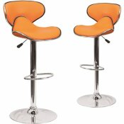CARNEGY AVENUE 32.5 IN. ORANGE BAR STOOL (SET OF 2)