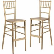 CARNEGY AVENUE GOLD WOOD CHIAVARI BAR STOOLS (SET OF 2)