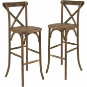 CARNEGY AVENUE DARK ANTIQUE WOOD CROSS BACK BAR STOOLS (SET OF 2)