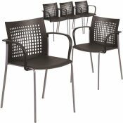 CARNEGY AVENUE BLACK PLASTIC STACK CHAIRS (SET OF 5)