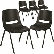 CARNEGY AVENUE BLACK PLASTIC/BLACK FRAME PLASTIC STACK CHAIRS (SET OF 5)