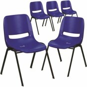 CARNEGY AVENUE NAVY PLASTIC/BLACK FRAME PLASTIC STACK CHAIRS (SET OF 5)