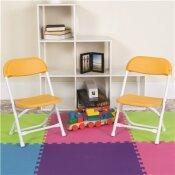 CARNEGY AVENUE YELLOW KIDS PLASTIC FOLDING CHAIRS (SET OF 10)