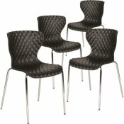 CARNEGY AVENUE BLACK PLASTIC STACK CHAIRS (SET OF 4)