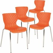 CARNEGY AVENUE ORANGE PLASTIC STACK CHAIRS (SET OF 4)