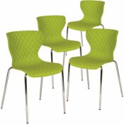 CARNEGY AVENUE CITRUS GREEN PLASTIC STACK CHAIRS (SET OF 4)