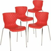 CARNEGY AVENUE RED PLASTIC STACK CHAIRS (SET OF 4)